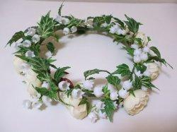 画像1: すずらんとローズの花冠